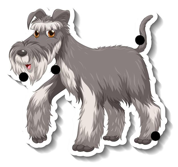 Projekt naklejki z szarym psem sznaucera na białym tle