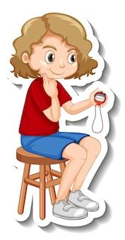 Projekt naklejki z trenerem dziewczyny trzymającej zegar