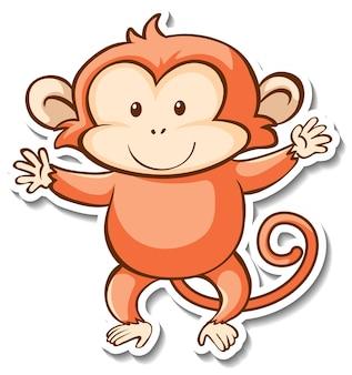 Projekt naklejki z uroczą małpą na białym tle