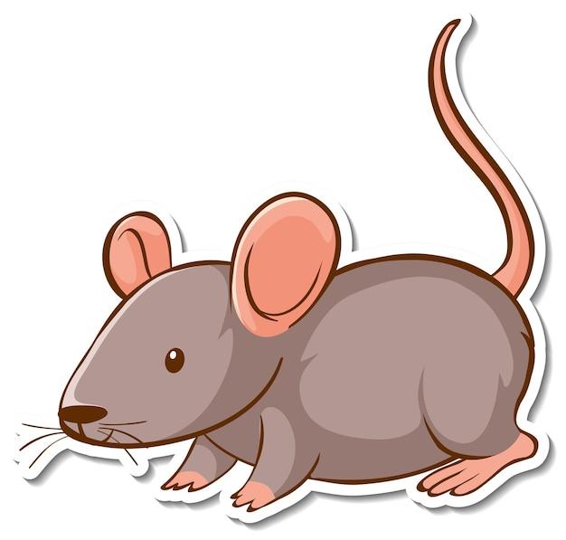 Projekt naklejki z uroczą myszką na białym tle