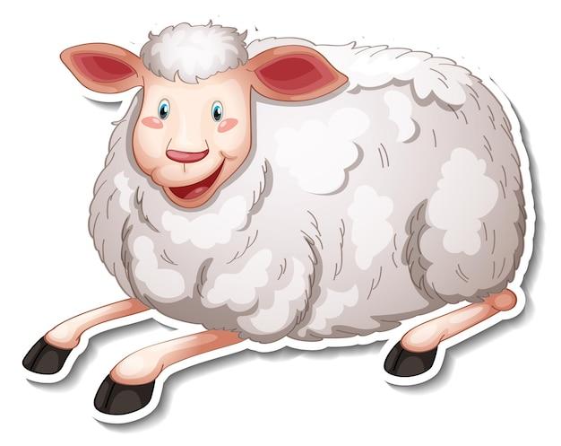 Projekt naklejki z uroczą postacią z kreskówek owiec