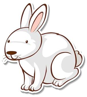 Projekt naklejki z uroczym królikiem na białym tle