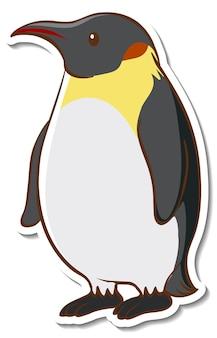 Projekt naklejki z uroczym pingwinem na białym tle