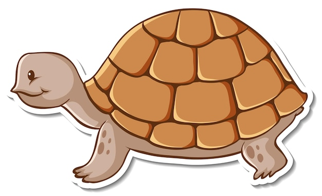 Projekt naklejki z uroczym żółwiem na białym tle