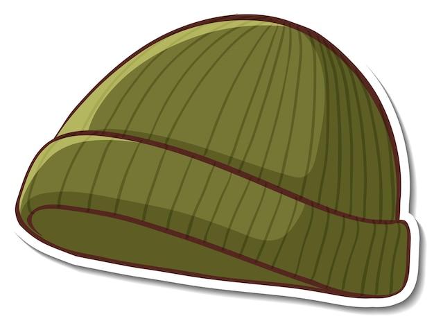 Projekt naklejki z zieloną czapką na białym tle
