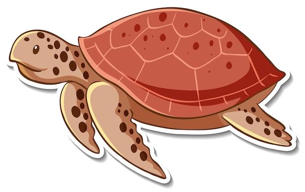 Projekt naklejki z żółwiem morskim na białym tle