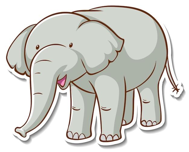 Projekt naklejki ze słodkim słoniem na białym tle
