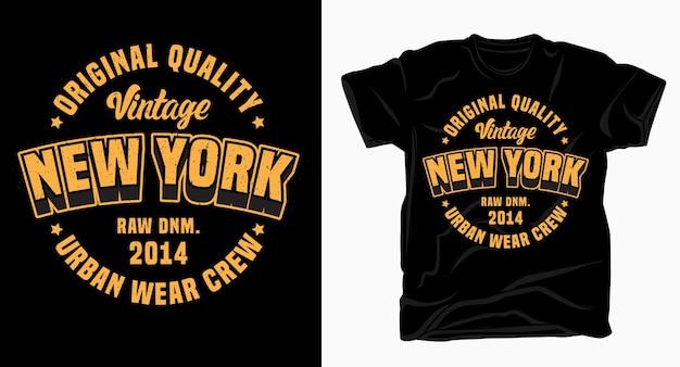 Projekt napisu vintage new york na koszulkę