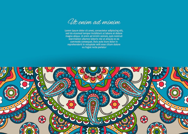 Projekt niebieskiej karty z wzorem paisley