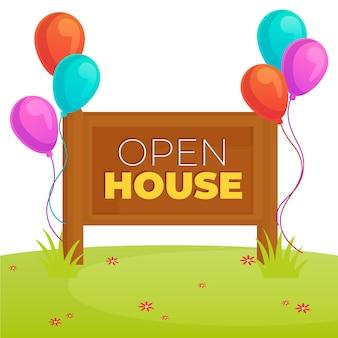 Projekt nieruchomości znak otwarty dom