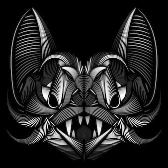 Projekt nietoperza. styl linoryt. czarny i biały. ilustracja linii