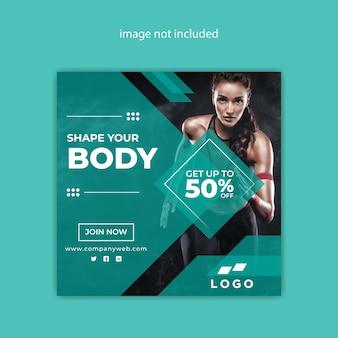 Projekt nowoczesnego ciała fitness społecznościowy baner