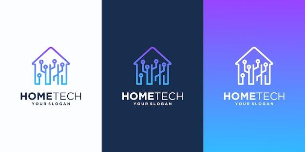 Projekt nowoczesnego logo inteligentnego domu, tech home