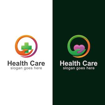 Projekt Nowoczesnego Logo Medycyny Opieki Zdrowotnej Ręką Premium Wektorów
