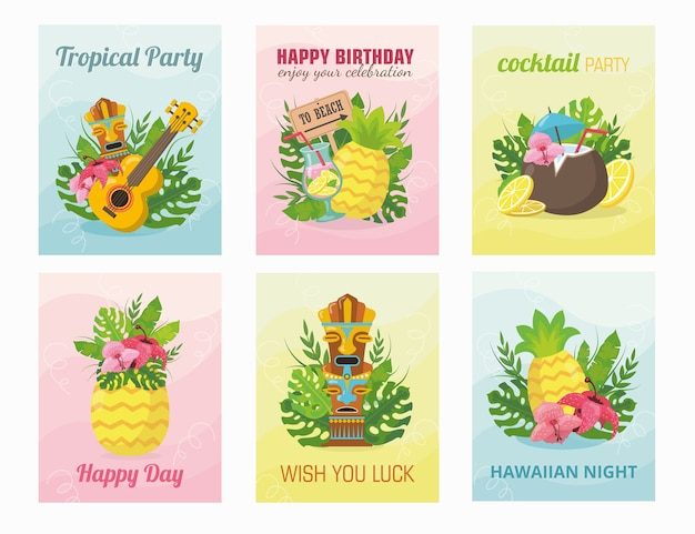 Projekt nowoczesnej karty hawajskiej z ilustracją. koncepcja wakacji letnich