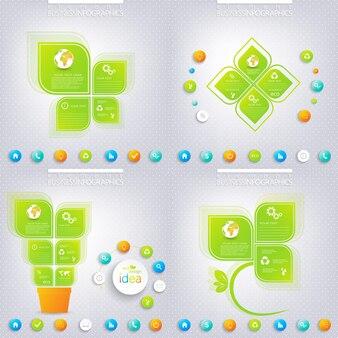 Projekt nowoczesny plansza zielony z miejscem na twój tekst. koncepcja biznesowa 3, 4 opcje