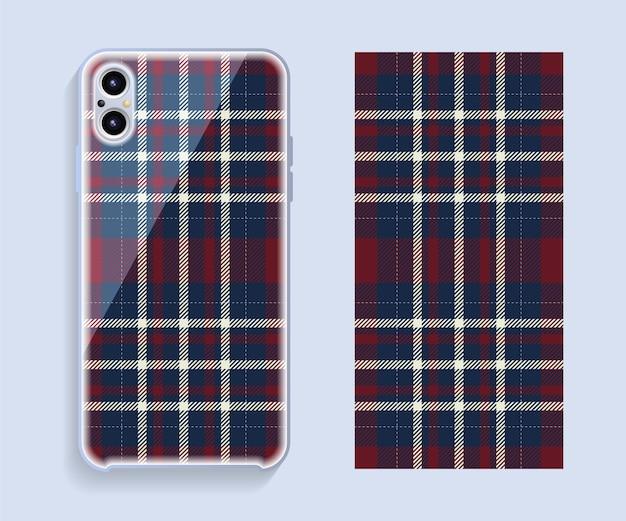 Projekt obudowy smartfona. szablon geometryczny wzór na tylnej części telefonu komórkowego.