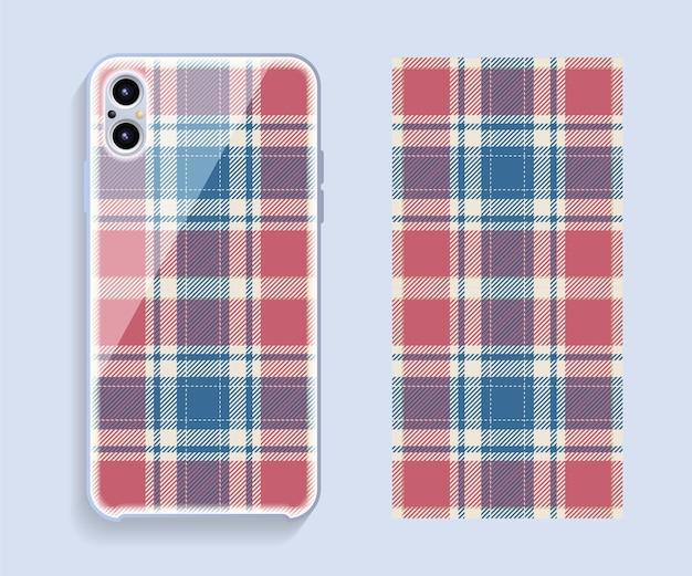 Projekt obudowy smartfona. szkocki wzór na odwrocie telefonu komórkowego
