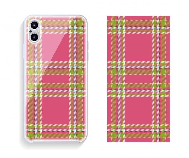 Projekt obudowy telefonu komórkowego. szablon smartphone przypadku wektor wzór.