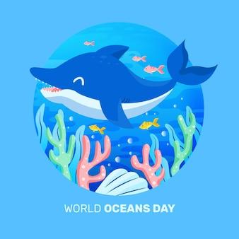 Projekt oceanu ręcznie rysowane