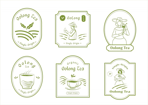 Projekt odznaki herbaty oolong