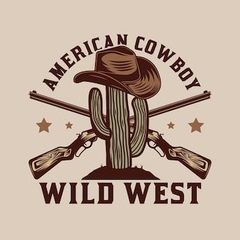 Projekt Odznaki Kaktusa I Kowbojskiego Kapelusza Premium Wektorów