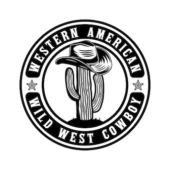 Projekt odznaki kaktusa i kowbojskiego kapelusza