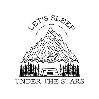 Projekt odznaki przygoda kempingowa. logo herbu plenerowego z cytatem - śpijmy pod gwiazdami. etykieta sylwetka podróży na białym tle. święta geometria. stockowa etykieta z grafiką tatuażu