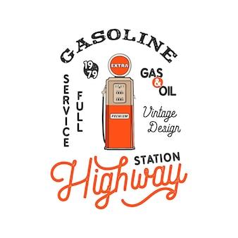 Projekt Odznaki Vintage Pompy Stacji Benzynowej Premium Wektorów