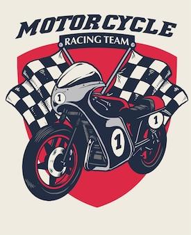 Projekt odznaki wyścigów motocyklowych retro