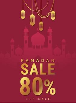 Projekt oferty baner ramadan kareem z ornamentem latarnia księżyc tło