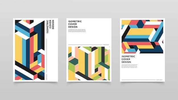 Projekt okładki abstrakcyjne izometryczne kształty. ilustracja kolorowy projekt.