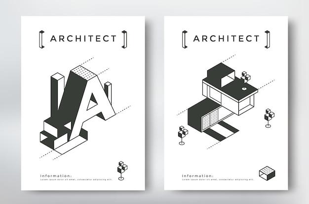 Projekt okładki architektury szablon formatu a4. izometryczne elementy budynku i geometrii.