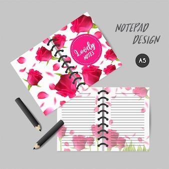 Projekt okładki do notatników lub albumów z różami