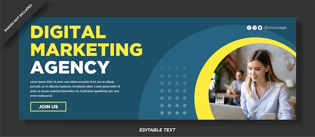 Projekt okładki facebooka agencji marketingu cyfrowego
