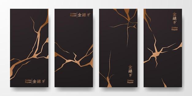 Projekt okładki kintsugi w kolorze złotym. luksusowa elegancka marmurowa tekstura ceramiczna. wzór pęknięć i pęknięć na ścianie, plakat, baner, media społecznościowe (tłumaczenie tekstu = złota renowacja)