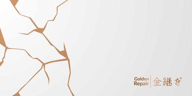 Projekt okładki kintsugi złoty przywrócenie z białym tłem. luksusowa elegancka marmurowa tekstura ceramiczna. wzór pęknięcia i złamanego podłoża na ścianę, plakat, baner, media społecznościowe,