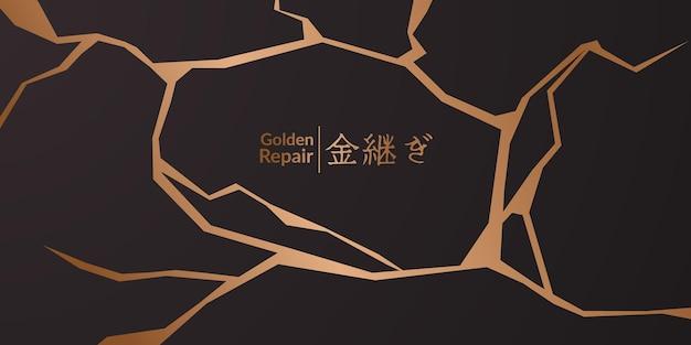 Projekt okładki kintsugi złoty przywrócenie z czarnym tłem. luksusowa elegancka marmurowa tekstura ceramiczna. wzór pęknięcia i złamanego podłoża na ścianę, plakat, baner, media społecznościowe,