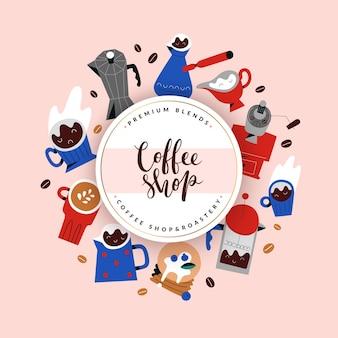 Projekt okładki menu kawiarni, szablon ramki z ilustracjami