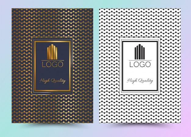 Projekt okładki menu luksusowego premium geometryczne