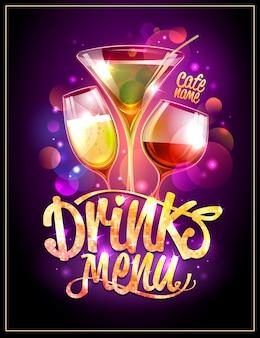 Projekt okładki menu napojów, koktajle i iskierki disco