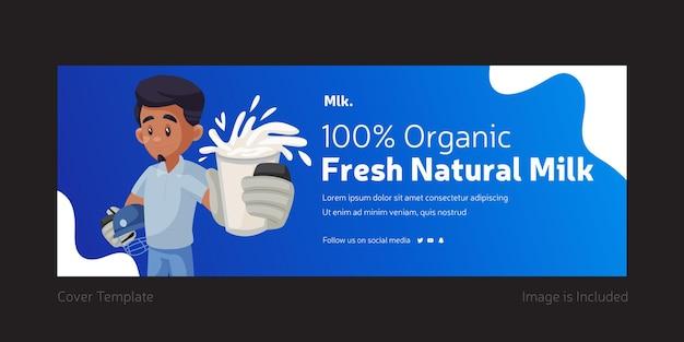 Projekt okładki na facebooku ze świeżym naturalnym mlekiem