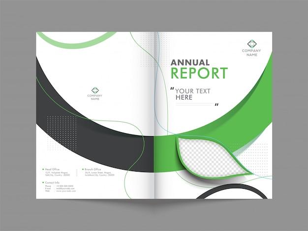 Projekt okładki rocznego raportu biznesowego.