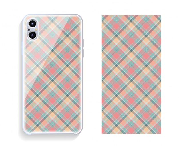 Projekt okładki smartfona wektor. geometryczny wzór tylnej części telefonu komórkowego. płaska konstrukcja.