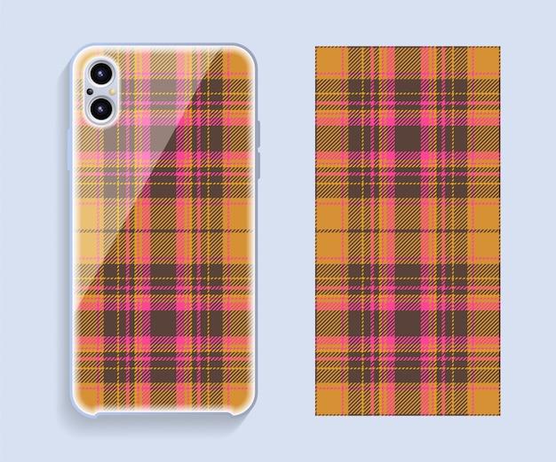 Projekt okładki smartfona wektor. szablon geometryczny wzór tylnej części telefonu komórkowego. płaska konstrukcja.
