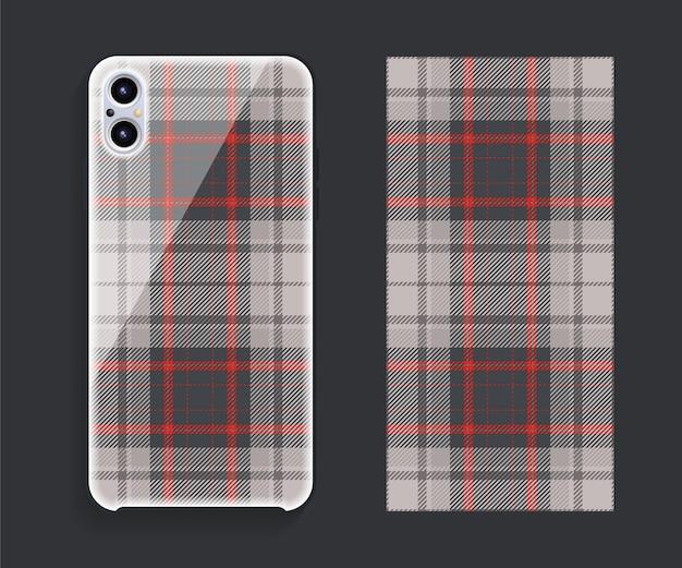 Projekt okładki telefonu komórkowego. szablon etui na smartfona.