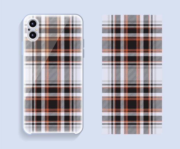 Projekt okładki telefonu komórkowego. szablon wzoru etui na smartfona.