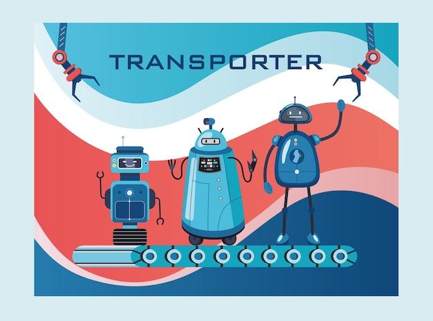 Projekt okładki transportera robotów. humanoidy, cyborgi, inteligentne maszyny na pasach wektorowych ilustracji z tekstem. koncepcja robotyki na tle strony internetowej lub strony internetowej