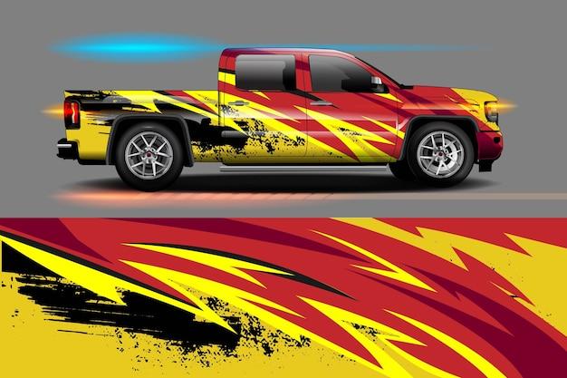 Projekt okleiny winylowej pojazdu z abstrakcyjnym tłem racing stripe stripe