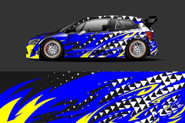 Projekt oklejenia pojazdu i naklejki winylowej z wyścigowym abstrakcyjnym tłem